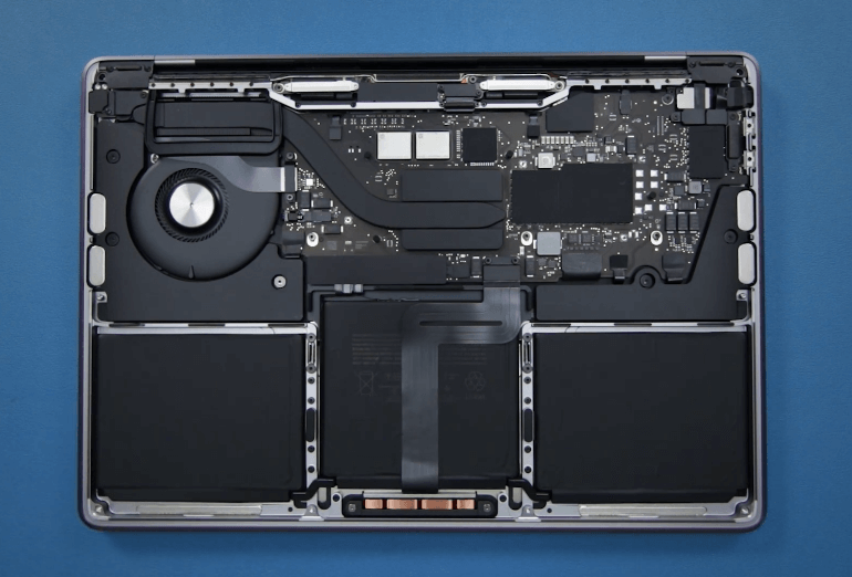 m1 macbook air without back so you can see all components
