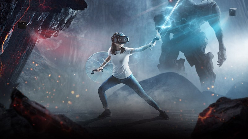 girl playing VR in virtual world