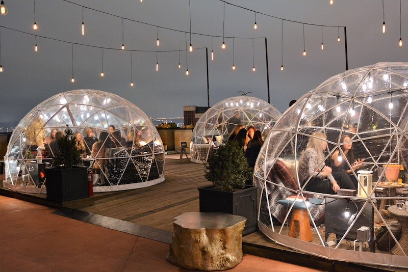 igloos in bobby hotel at night